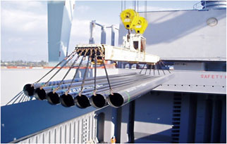 Loading of pipes with pipe slings