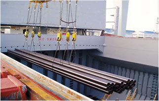 Loading of pipes using wire slings