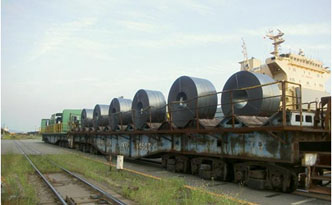 Hot rolled coils on rail way wagon