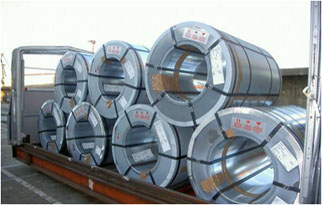 Steel coils in roofed pallet