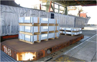 Steel sheets on pallet